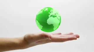 Glass Globe Spinning and Floating over a Still Hand | Green Version | DCI 4K Ultra HD 4096x2304 and Full HD 1920x1080
