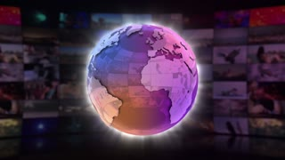 Global News On Screen 3D Animated Text Graphics | News Broadcast Graphic Title Animation Loop | Full HD 1920X1080 | Purple Violet Pink