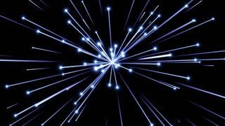 Glowing Flares and Particles Shooting from Center and Leaving Trails of Light Behind them Seamless Looping Motion Background Blue