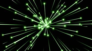 Glowing Flares and Particles Shooting from Center and Leaving Trails of Light Behind them Seamless Looping Motion Background Green