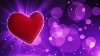 Glowing Heart Party Themed Loopable Motion Background with Glowing Particles and Bokeh Purple Violet | Happy Anniversary Wishes Backdrop | Wishing Happy Anniversary Background