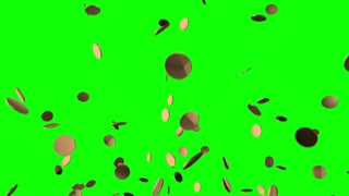 Gold Coins Falling Constantly from the Sky Over a Green Screen | Seamless Looping | Full HD 1920x1080