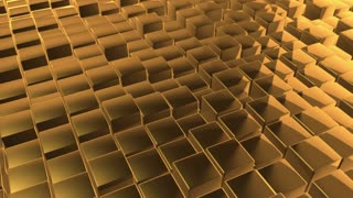 Scrolling Floor made up of Metallic Cubes | Shiny Metal Cubes with Displacement | Seamless Looping Video Background | 1920x1080 Full HD | Gold |