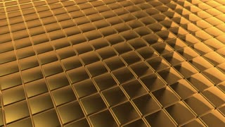 Scrolling Tiled Floor | Shiny Square Metal Tiles on a Plane Surface | Seamless Looping Video Background | 1920x1080 Full HD | Gold |