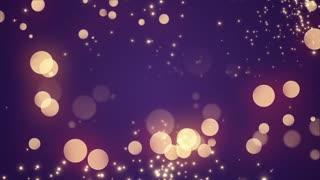 Golden Bokeh Glowing Twinkling Sparkling Particles Circles | Seamless Motion Background | Full HD 1920 X 1080 | Gold Purple Indigo