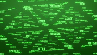 Flying Through Text Phrases Terms and Words | Seamless Looping Animated Motion Video Background | Motivation Inspirational Success Perseverance Determination Hardwork | Version 3 | Green