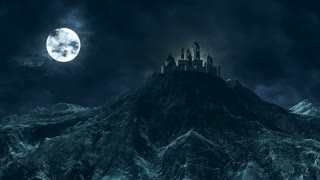 Haunted Castle Fort Mansion House Palace on a Spooky Hill | Hilltop Horror Full Moon Cloudy Sky Lightening Storm | House on Haunted Mountain