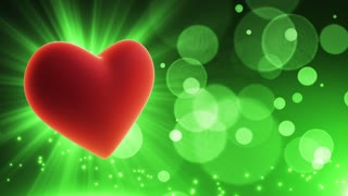 Glowing Heart Party Themed Loopable Motion Background with Glowing Particles and Bokeh Green | Happy Anniversary Wishes Backdrop | Wishing Happy Anniversary Background