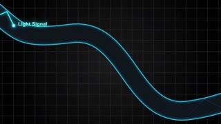 How Optical Fibers Work Version 1 Motion Diagram showing a Light Signal Traveling through an Optical Fiber Wire