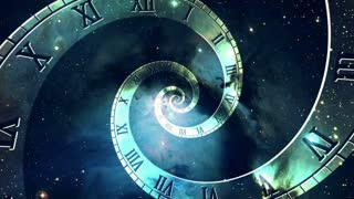 Infinity Clock | Version 1 | Blue | Infinite Zoom in of Cosmic Clock with Roman Numerals | Abstract Time Travel Conceptual Spiral Sci fi Fantasy Video Background