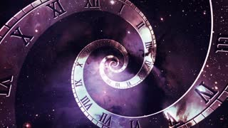 Infinity Clock | Version 1 | Purple Pink Red | Infinite Zoom in of Cosmic Clock with Roman Numerals | Abstract Time Travel Conceptual Spiral Sci fi Fantasy Video Background