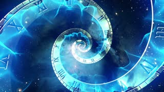 Infinity Clock | Version 2 | Blue Energy | Infinite Zoom in of Cosmic Clock with Roman Numerals | Abstract Time Travel Conceptual Spiral Sci fi Fantasy Video Background