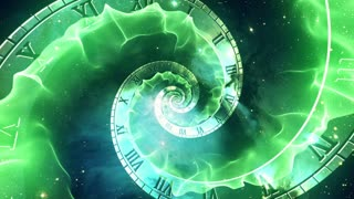 Infinity Clock | Version 2 | Green | Infinite Zoom in of Cosmic Clock with Roman Numerals | Abstract Time Travel Conceptual Spiral Sci fi Fantasy Video Background