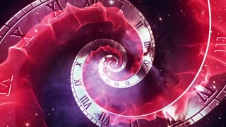 Infinity Clock | Version 2 | Red | Infinite Zoom in of Cosmic Clock with Roman Numerals | Abstract Time Travel Conceptual Spiral Sci fi Fantasy Video Background