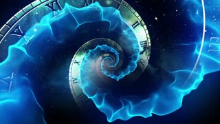 Infinity Clock | Version 3 | Blue | Infinite Zoom in of Cosmic Clock with Roman Numerals | Abstract Time Travel Conceptual Spiral Sci fi Fantasy Video Background