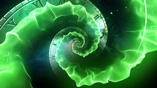 Infinity Clock | Version 3 | Green | Infinite Zoom in of Cosmic Clock with Roman Numerals | Abstract Time Travel Conceptual Spiral Sci fi Fantasy Video Background