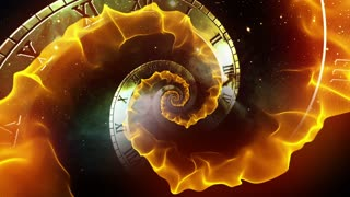 Infinity Clock | Version 3 | Orange | Infinite Zoom in of Cosmic Clock with Roman Numerals | Abstract Time Travel Conceptual Spiral Sci fi Fantasy Video Background