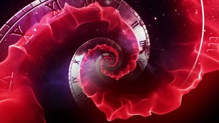 Infinity Clock | Version 3 | Red | Infinite Zoom in of Cosmic Clock with Roman Numerals | Abstract Time Travel Conceptual Spiral Sci fi Fantasy Video Background