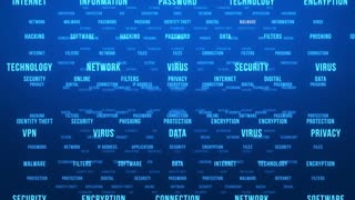Flying Through Text Phrases Terms and Words | Seamless Looping Animated Motion Video Background | Internet Security Encryption Cloud Data Network Virus | Version 1 | Cyan Blue