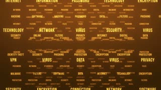 Flying Through Text Phrases Terms and Words | Seamless Looping Animated Motion Video Background | Internet Security Encryption Cloud Data Network Virus | Version 1 | Gold Brown Golden Orange Yellow