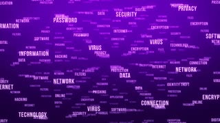 Flying Through Text Phrases Terms and Words | Seamless Looping Animated Motion Video Background | Internet Security Encryption Cloud Data Network Virus | Version 3 | Purple Indigo Violet Magenta