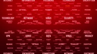 Flying Through Text Phrases Terms and Words | Seamless Looping Animated Motion Video Background | Internet Security Encryption Cloud Data Network Virus | Version 1 | Red Maroon