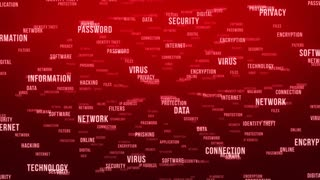 Flying Through Text Phrases Terms and Words | Seamless Looping Animated Motion Video Background | Internet Security Encryption Cloud Data Network Virus | Version 3 | Red Maroon