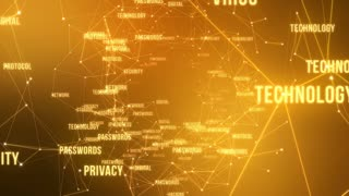Internet Technology Security Related Terms Connected Through Network of Lines With Camera Flying Through Seamless Looping Motion Background 4K Yellow Orange Golden