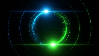 Lens Flares Spinning and Forming Particles Ring Blue Green