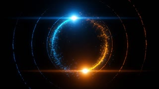 Lens Flares Spinning and Forming Particles Ring Blue Orange
