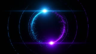 Lens Flares Spinning and Forming Particles Ring Blue Purple