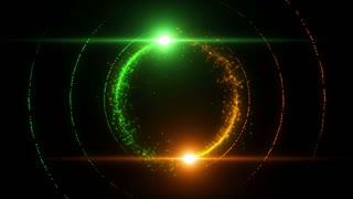 Lens Flares Spinning and Forming Particles Ring Green Orange Yellow