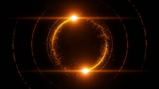 Lens Flares Spinning and Forming Particles Ring Orange Gold
