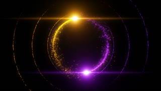 Lens Flares Spinning and Forming Particles Ring Yellow Purple