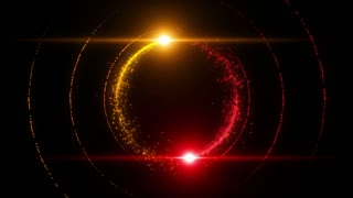 Lens Flares Spinning and Forming Particles Ring Yellow Red