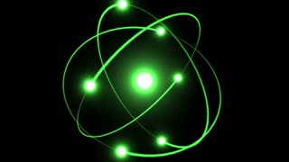 Light Streaks Following Flares and Spinning Around A Bright Energy Core | Atomic Energy | Atom Model With Particles Rotating Around Nucleus | Seamless Looping Motion Background | Full HD 1920 X 1080 | Green