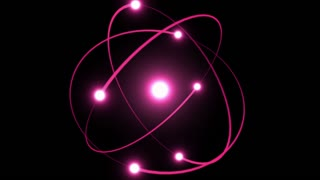 Light Streaks Following Flares and Spinning Around A Bright Energy Core | Atomic Energy | Atom Model With Particles Rotating Around Nucleus | Seamless Looping Motion Background | Full HD 1920 X 1080 | Pink Magenta