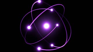 Light Streaks Following Flares and Spinning Around A Bright Energy Core | Atomic Energy | Atom Model With Particles Rotating Around Nucleus | Seamless Looping Motion Background | Full HD 1920 X 1080 | Purple