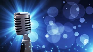 Traditional Retro Vintage Style Microphone Spinning Music Show Loopable Motion Background With Glowing Particles and Bokeh Blue
