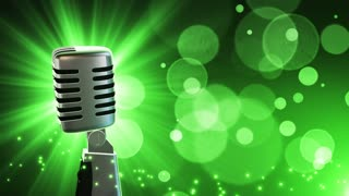 Traditional Retro Vintage Style Microphone Spinning Music Show Loopable Motion Background With Glowing Particles and Bokeh Green