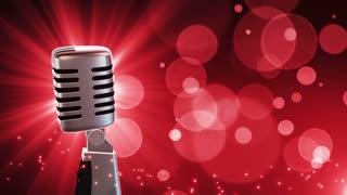 Traditional Retro Vintage Style Microphone Spinning Music Show Loopable Motion Background With Glowing Particles and Bokeh Red