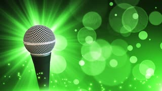 Spinning Dynamic Modern Microphone Music Show Loopable Motion Background With Glowing Particles and Bokeh Green