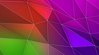 Multicolored Elegant Polygonal Surface | Triangular Polygons with Outlines | Low Poly Waves on a Plane Surface | Seamless Loop | Motion Background | Full HD 1920 1080 Green Pink Blue Violet Orange