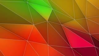 Multicolored Elegant Polygonal Surface | Triangular Polygons with Outlines | Low Poly Waves on a Plane Surface | Seamless Loop | Motion Background | Full HD 1920 1080 | Orange Green Pink Lemon Yellow