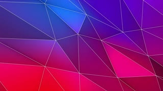 Multicolored Elegant Polygonal Surface | Triangular Polygons with Outlines | Low Poly Waves on a Plane Surface | Seamless Loop | Motion Background | Full HD 1920 1080 Pink Red Blue Purple Magenta Violet