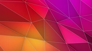 Multicolored Elegant Polygonal Surface | Triangular Polygons with Outlines | Low Poly Waves on a Plane Surface | Seamless Loop | Motion Background | Full HD 1920 1080 Yellow Red Purple Pink Violet