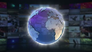 News Report On Screen 3D Animated Text Graphics | News Broadcast Graphic Title Animation Loop | Full HD 1920X1080 | Blue Cyan