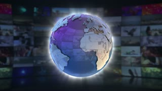 Newsreel On Screen 3D Animated Text Graphics | News Broadcast Graphic Title Animation Loop | Full HD 1920X1080 | Blue Cyan