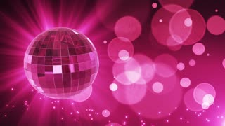 Spinning Disco Ball Party Themed Funky Fun Loopable Motion Background With Glowing Particles and Bokeh Pink Magenta