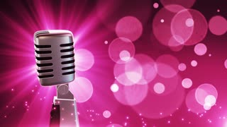 Traditional Retro Vintage Style Microphone Spinning Music Show Loopable Motion Background With Glowing Particles and Bokeh Pink